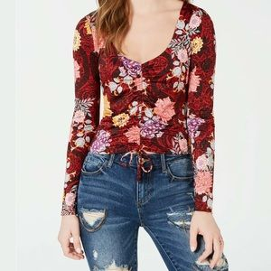 GUESS Long Sleeve Micah Ruched Floral Top Large